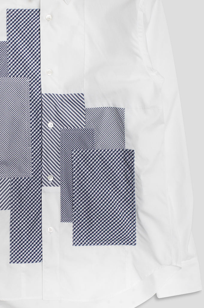 GANRYU LS BUTTON UP WHITE NAVY - BLENDS