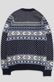 GANRYU NORDIC NORDIC CARDIGAN NAVY WHITE BLUE - BLENDS