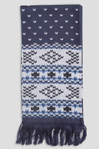 GANRYU FAIR ISLE SCARF NAVY WHITE BLUE