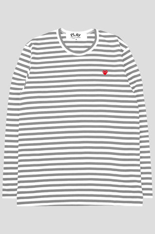 COMME DES GARCONS PLAY LS STRIPED TSHIRT GREY WHITE - BLENDS