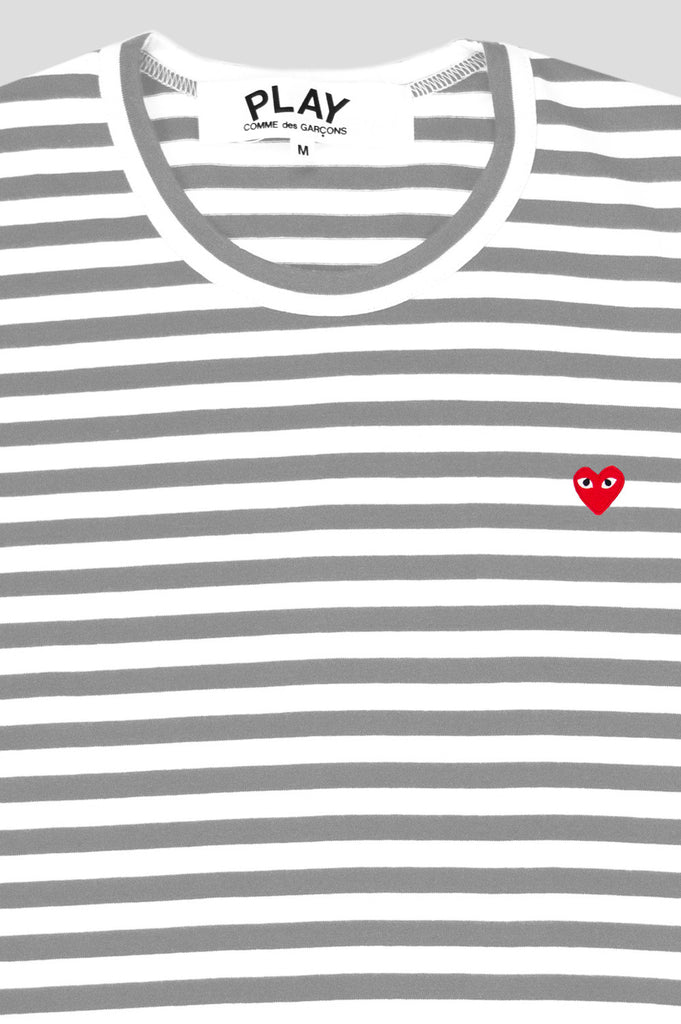 COMME DES GARCONS PLAY LS STRIPED TSHIRT GREY WHITE