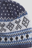 GANRYU FAIR ISLE BEANIE NAVY WHITE BLUE
