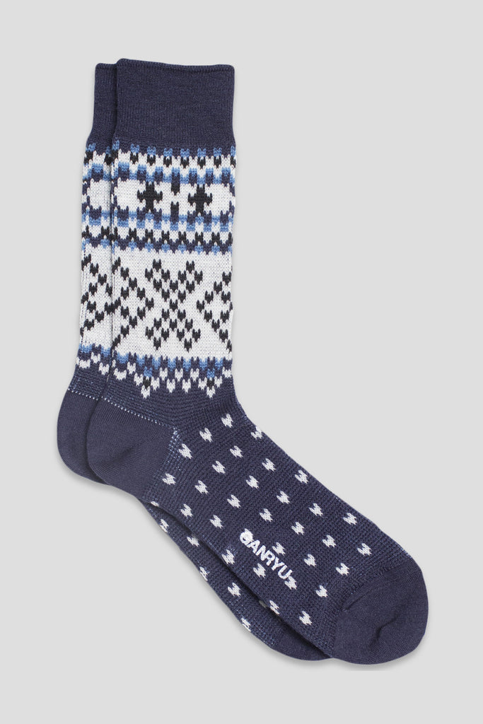 GANRYU FAIR ISLE SOCK NAVY WHITE BLUE - BLENDS