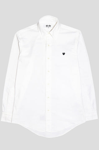 COMME DES GARCONS PLAY LS BUTTON UP SHIRT WHITE BLACK - BLENDS
