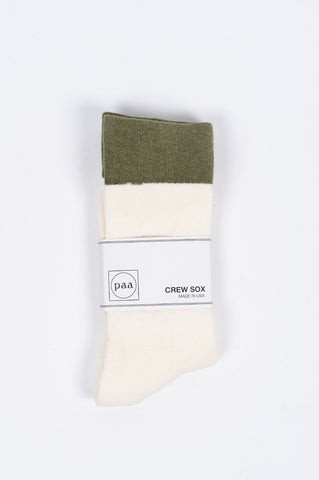 HOUSE OF PAA CREW SOX 2.5 ECRU OLIVE - BLENDS