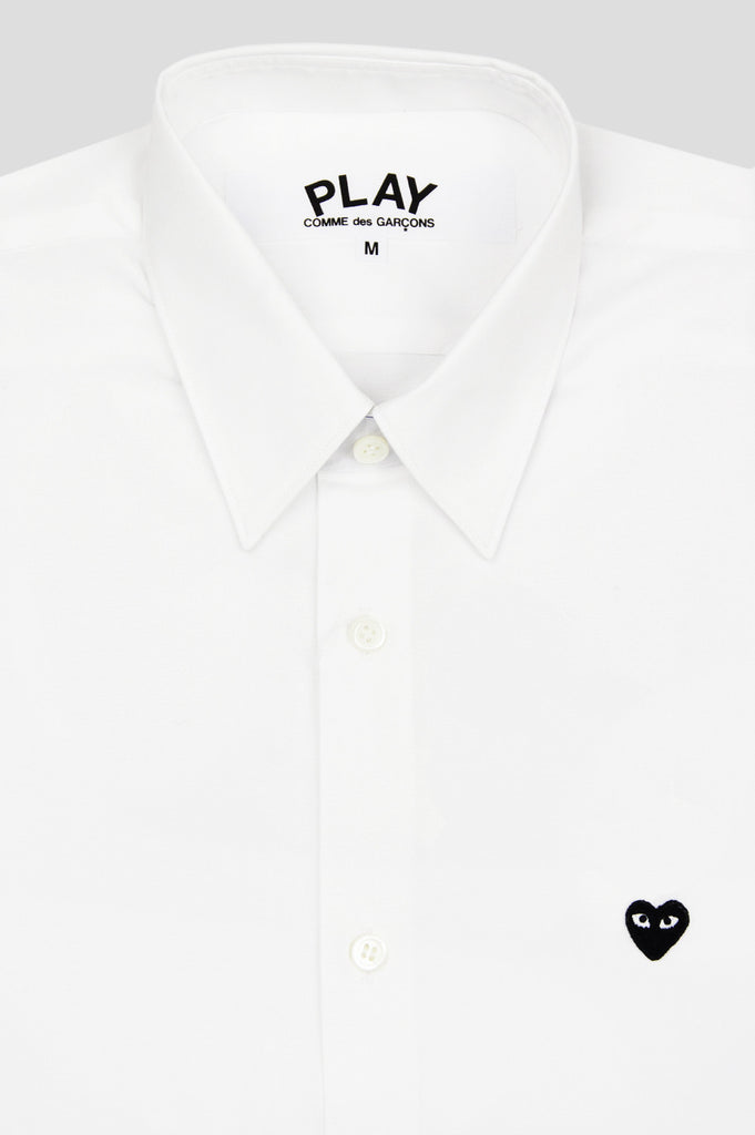 COMME DES GARCONS PLAY LS BUTTON UP SHIRT WHITE BLACK