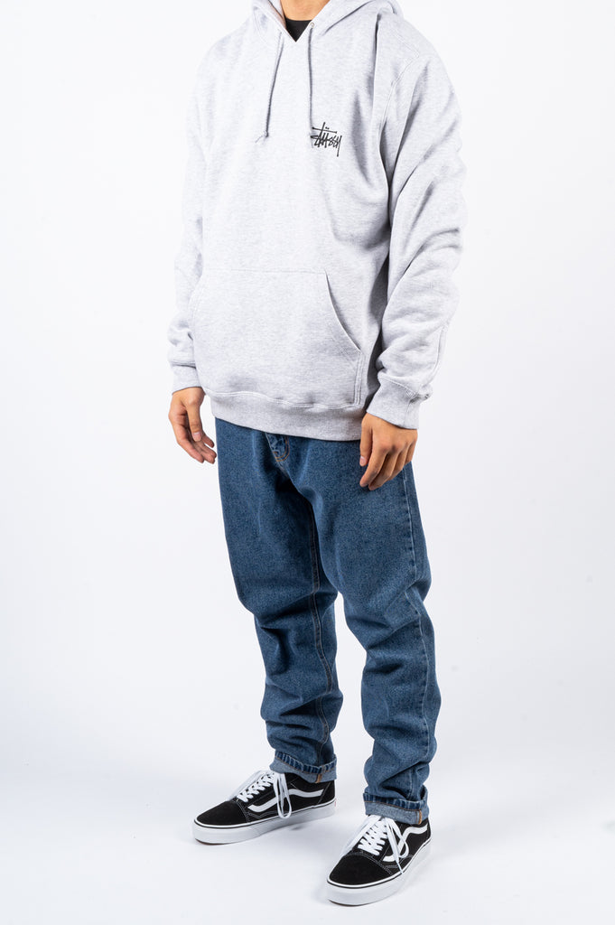 STUSSY BASIC HOODIE HEATHER GREY - BLENDS