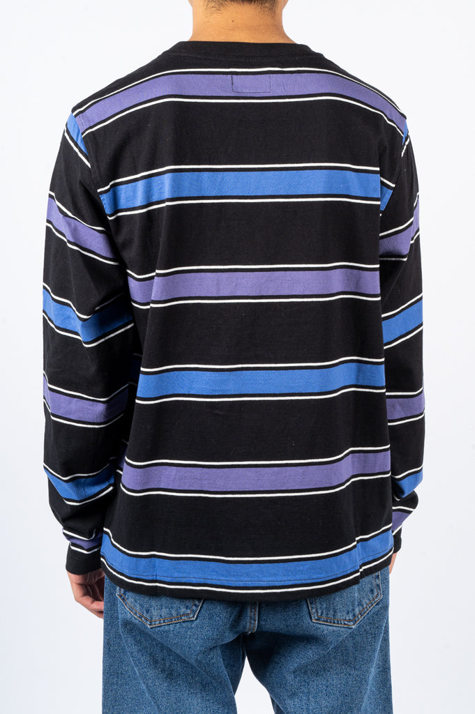 STUSSY MARCO STRIPE LS CREW BLACK - BLENDS