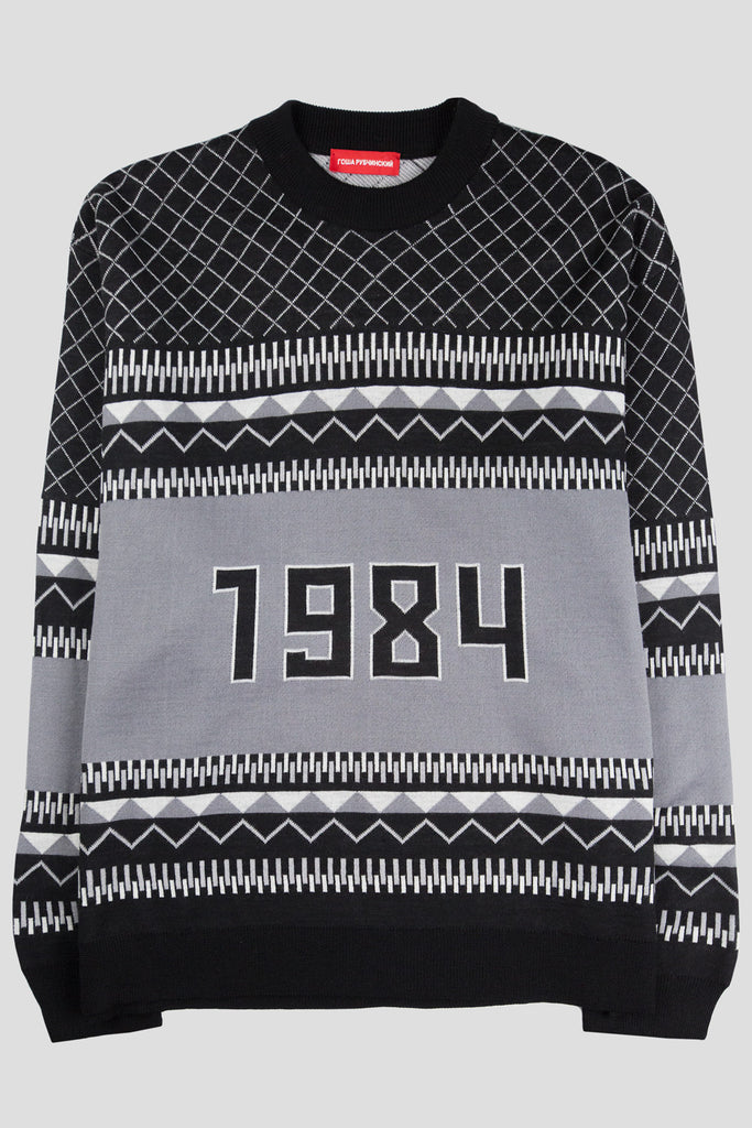 GOSHA RUBCHINSKIY WOOL MIX 1984 SWEATER BLACK WHITE