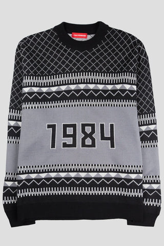 GOSHA RUBCHINSKIY WOOL MIX 1984 SWEATER BLACK WHITE - BLENDS