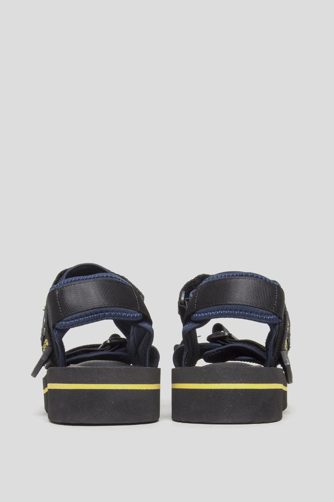 BRAIN DEAD X SUICOKE STRAP SANDAL KISEE BLACK NAVY YELLOW - BLENDS