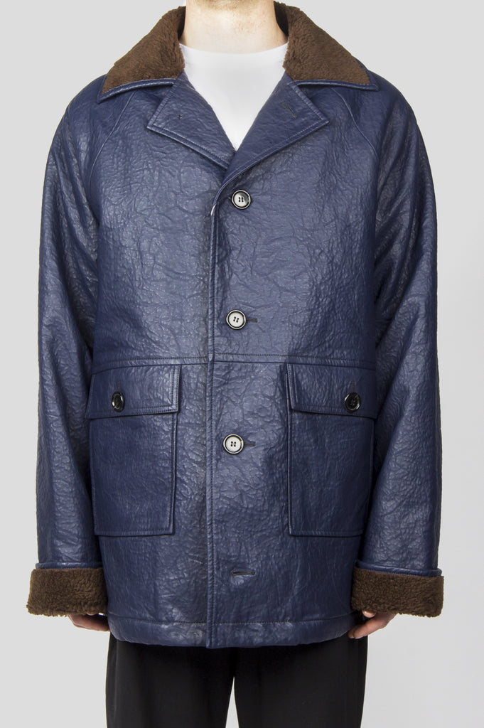 GOSHA RUBCHINSKIY FAUX LEATHER COAT NAVY