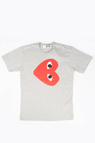 COMME DES GARCONS PLAY RED HEART TEE GREY
