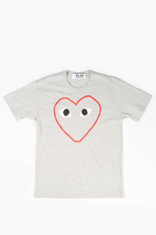 COMME DES GARCONS PLAY OUTLINE HEART SHIRT GREY
