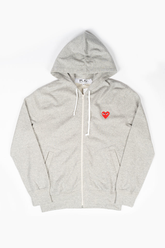COMME DES GARCONS PLAY HOODIE JACKET LIGHT HEATHER GREY
