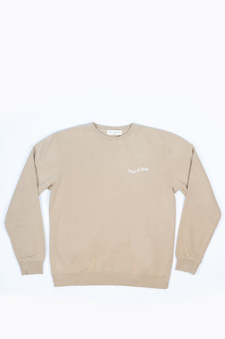 THE MUSEUM OF PEACE AND QUIET WORDMARK CREWNECK SAND