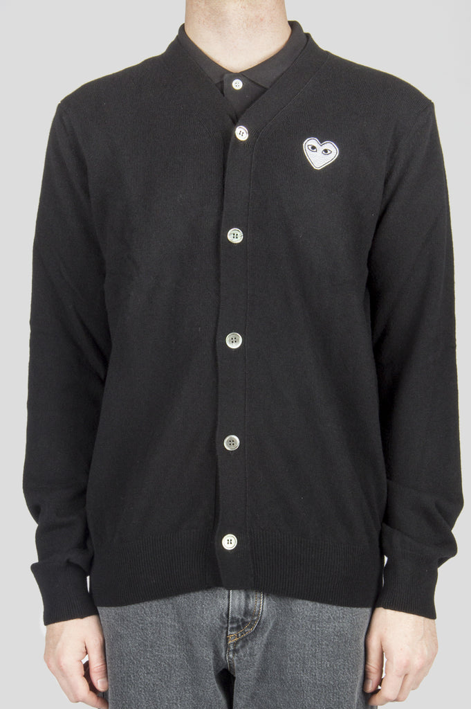 COMME DES GARCONS PLAY CARDIGAN BLACK WHITE HEART - BLENDS