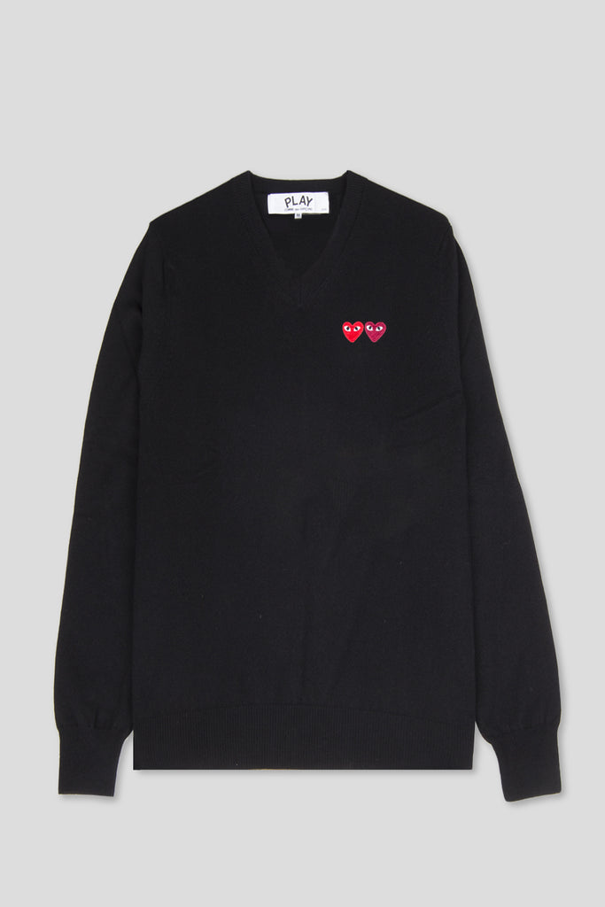 COMME DES GARCONS PLAY LS VNECK SWEATSHIRT BLACK RED HEART - BLENDS