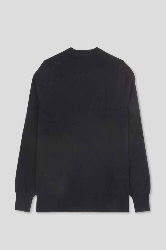 COMME DES GARCONS PLAY LS VNECK SWEATSHIRT HEART BLACK - BLENDS