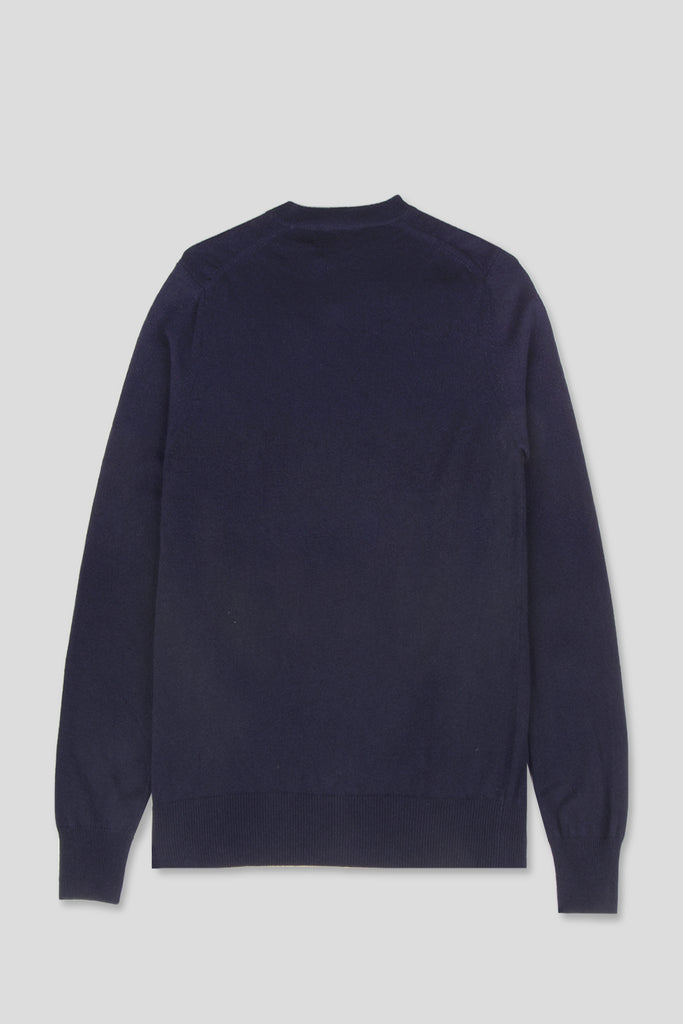 COMME DES GARCONS PLAY LS VNECK SWEATSHIRT HEART NAVY - BLENDS