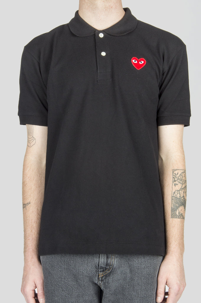 COMME DES GARCONS PLAY POLO TSHIRT BLACK RED HEART - BLENDS