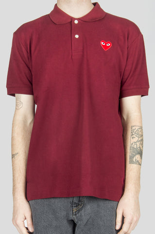 COMME DES GARCONS PLAY POLO TSHIRT BURGUNDY RED HEART - BLENDS