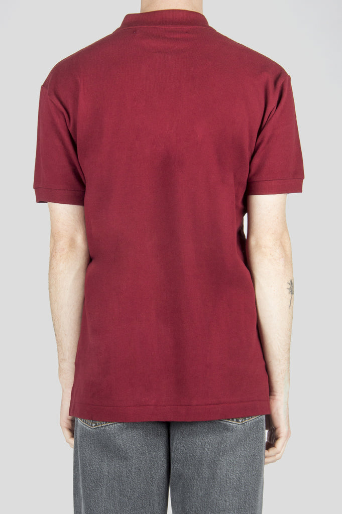 COMME DES GARCONS PLAY POLO TSHIRT BURGUNDY RED HEART