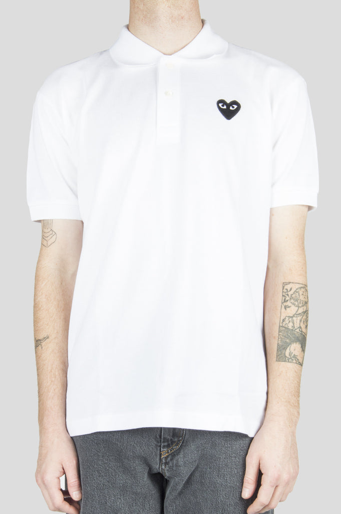 COMME DES GARCONS PLAY POLO TSHIRT WHITE BLACK HEART - BLENDS
