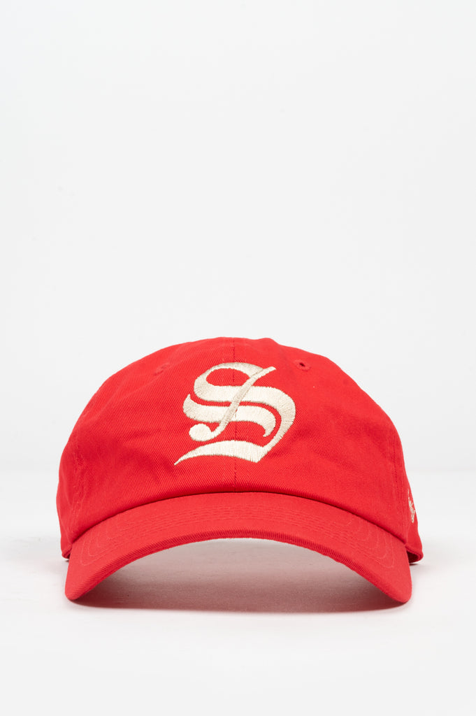 "SPORTY AND RICH OLD ENGLISH ""S"" HAT RED WHITE"