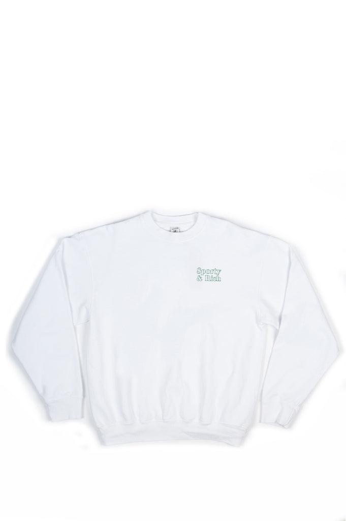 SPORTY AND RICH FUN LOGO CREWNECK WHITE