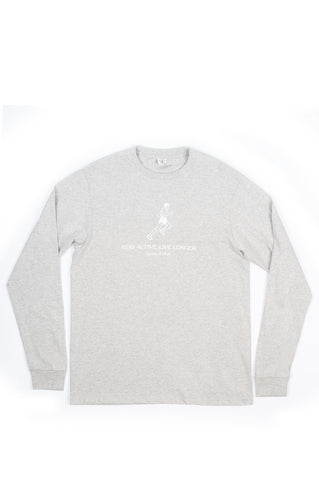 SPORTY AND RICH LIVE LONGER LONG SLEEVE HEATHER GRAY