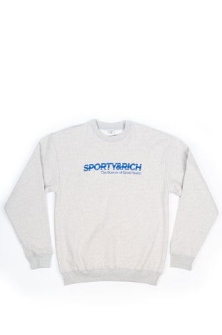 SPORTY AND RICH SCIENCE OF GOOD HEALTH CREWNECK HEATHER GRAY