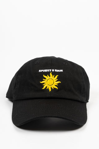 SPORTY AND RICH SUN CLUB HAT BLACK