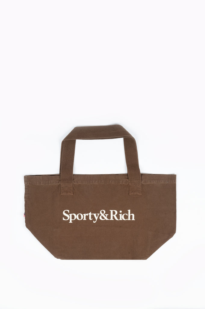 SPORTY AND RICH SERIF LOGO TOTE BAG CHOCOLATE