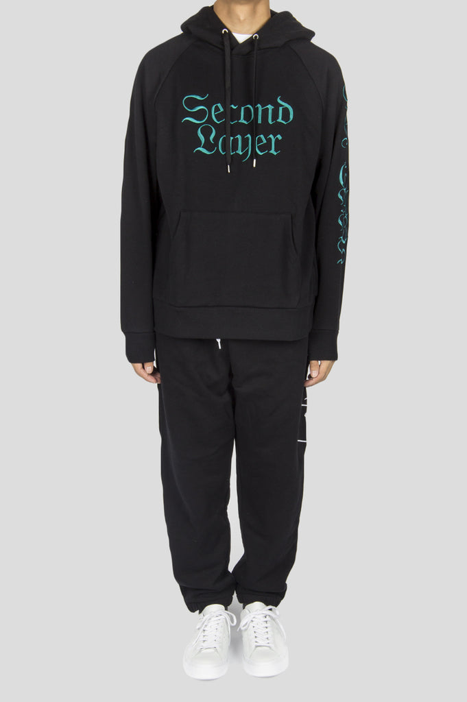 SECOND LAYER 96 TEARS HOODIE BLACK