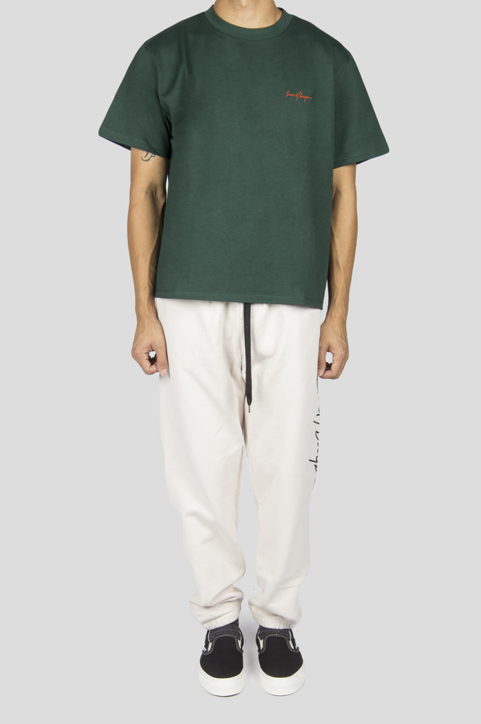 SECOND LAYER STRUCTURED JERSEY CROPPED T-SHIRT VIRIDIAN - BLENDS