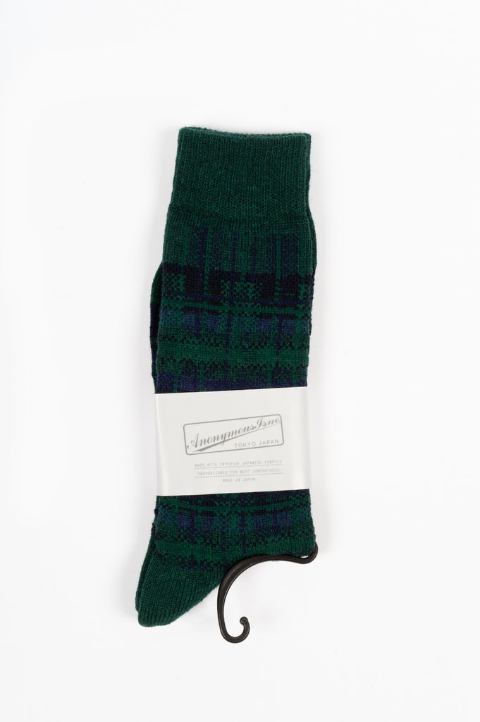 ANONYMOUS ISM WOOL CHECK CREW SOCK