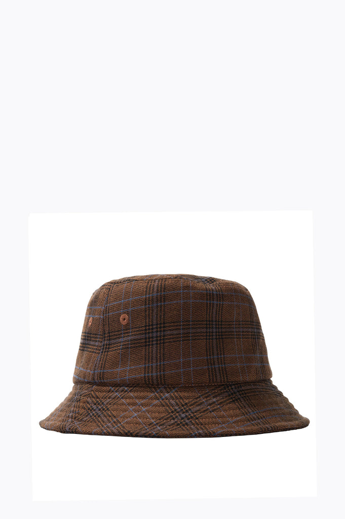 STUSSY BIG LOGO PLAID BUCKET HAT BROWN