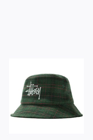 STUSSY BIG LOGO PLAID BUCKET HAT GREEN