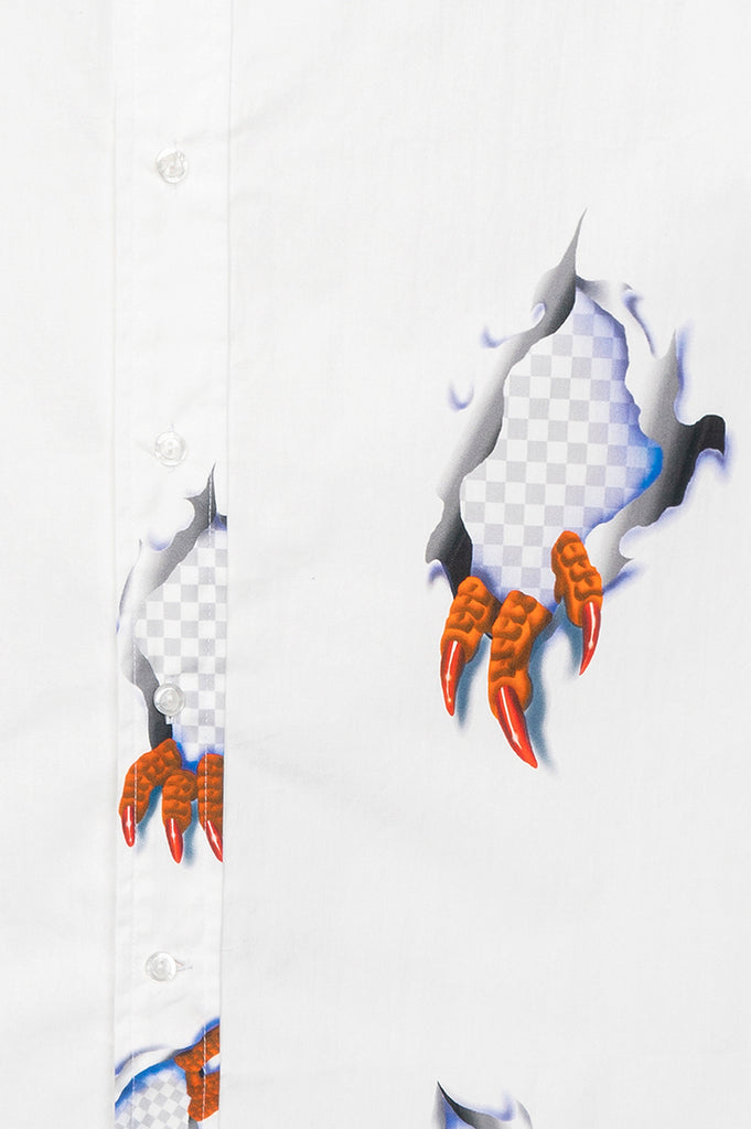 BRAIN DEAD CLAW BUTTON UP SHIRT WHITE
