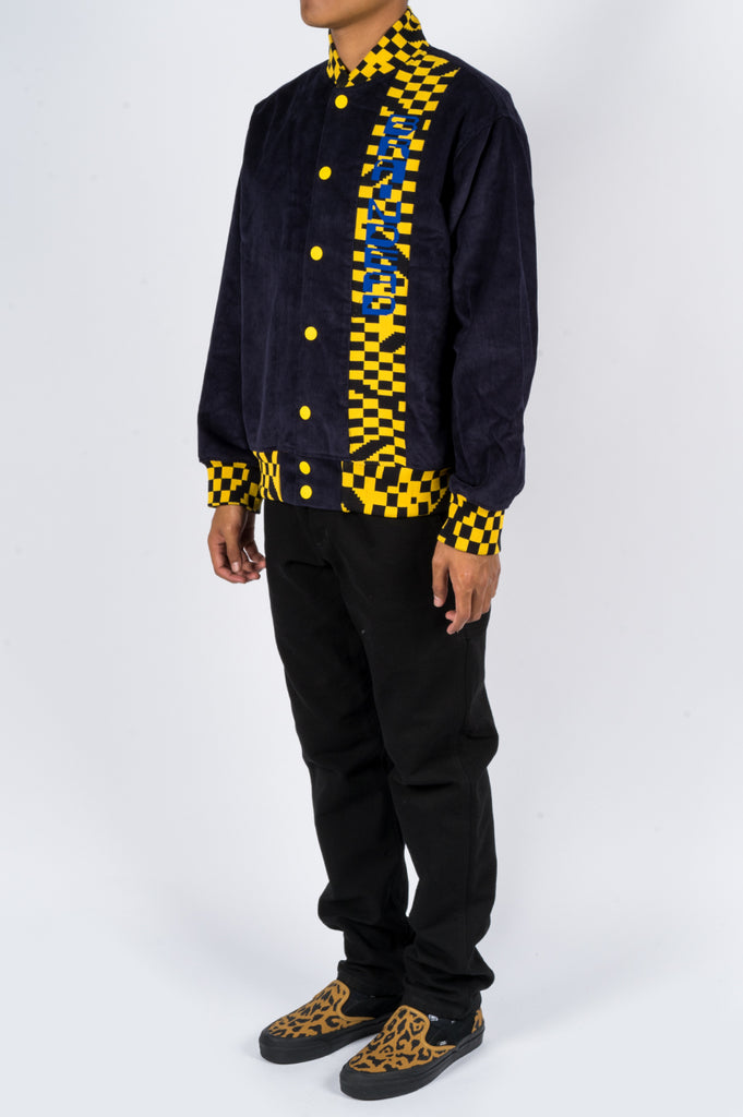 BRAIN DEAD CORDUROY LETTERMAN JACKET NAVY YELLOW - BLENDS