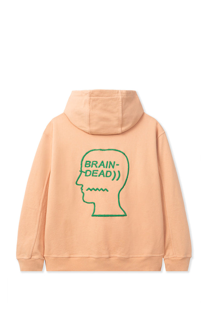 BRAIN DEAD SPEED TEXT EMBROIDERED LOGO HEAD HOODY TERRACOTTA