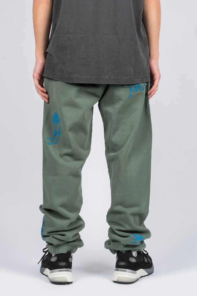 BRAIN DEAD P&TY SWEATPANT GREEN - BLENDS