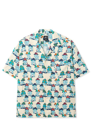 BRAIN DEAD MUSHROOM SHORT SLEEVE HAWAIIAN SHIRT NATURAL