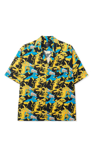 BRAIN DEAD JONNY NEGRON BONDAGE PRINTED SHORT SLEEVE HAWAIIAN SHIRT BLACK