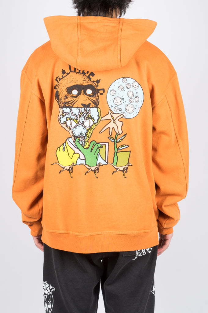 BRAIN DEAD NEW FLESH HOODED SWEATSHIRT ORANGE - BLENDS