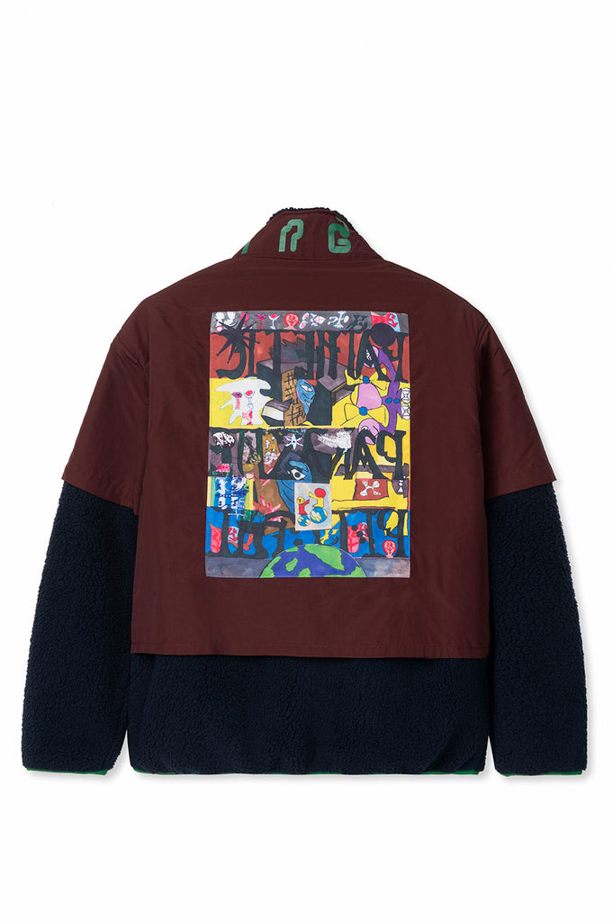 BRAIN DEAD POST EARTH SYNDROME FISHING FLEECE BURGUNDY