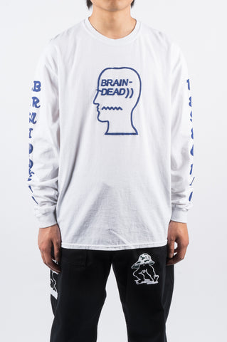 BRAIN DEAD VEHICLE LS TSHIRT WASHED WHITE - BLENDS