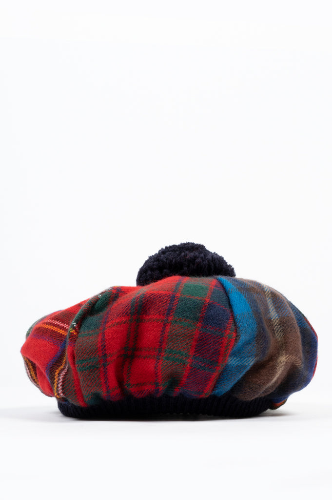 COMME DES GARCONS SHIRT WOOL TARTAN CHECK HAT MULTI