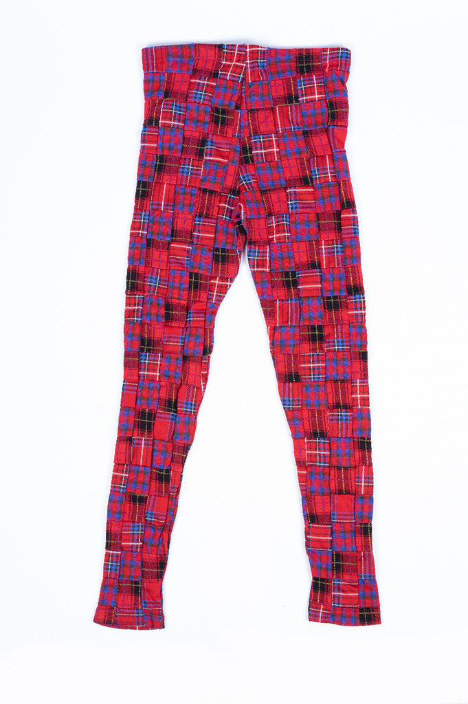 COMME DES GARCONS HOMME PLUS CHECK PATTERN POLY TIGHTS RED